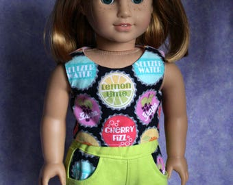 18 Inch Doll Clothing Popsicle Top and Shorts Matching Pockets