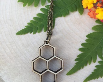 delicate small wooden honeycomb pendant, gift for her