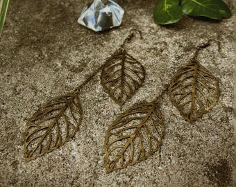Leafy Dangles, Detailed Antiqued Brass Leaves, Extra Long Lightweight Dangles