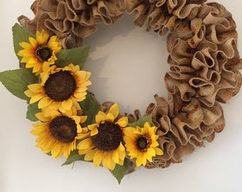 Sunflower Wreath, burlap wreath, sun flowers and leaves, ruffle  wreath, tan burlap printed with sunflowers, door decor, wall decor, gift