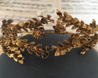 Vintage Braut Krone, Myrte Diadem, Boho Tiara, gold, Hochzeit Haarschmuck, Brautschmuck, Boho Haarband