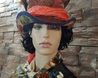 Mad hatter hat,steampunk Hat,alice in wonderland hat ,cosplay hat,mad hatter costume,Johnny Depp hat,top hat ,burning man hat ,full size hat