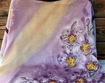 Orchids hand-painted exclusive one-of-a-kind silk satin purple gold summer scarf gift idea shawl 35x35 woman clothing present