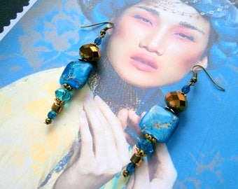 "Style earrings ""Bohemian chic"" with AGATE Imperial for wedding, anniversary"