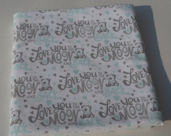 Baby Receiving Blanket, Teddy Bear Blanket, Love You to the Moon and Back, Flannel Blanket, Swaddle Blanket, Large Blanket, Grey and Green