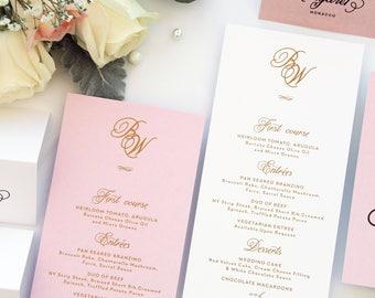 Bridget Blush and Gold Ink MENUS, Printable Menus or Printed Menus, Golden Elegant Menus, Wedding Table Stationery, Menu Templates