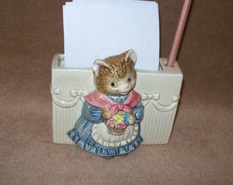 Vintage Otagiri Mama Kitten Porcelain Paper and Pen or Pencil Holder~Hand-Painted~Vintage Desk Set~Vintage Office Desk Storage