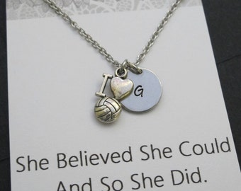 Hand Stamped Initial Necklace-Volleyball Necklace -Netball Jewelry-Player's initial Jewelry-Coach Gifts