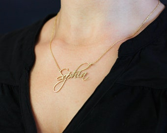 Gold Name Necklace, Custom Name Necklace, Personalized Name Necklace, Mothers Day, Dainty Name Necklace, Birthday Gift, New Mom Gift SN0224