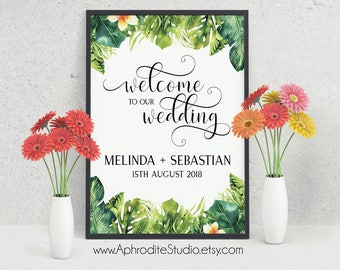 Welcome to our wedding sign - Beach wedding welcome sign - Tropical wedding welcome sign - Destination wedding welcome sign palm - AS-TR125