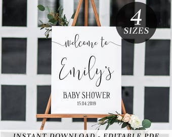 Printable Welcome Sign | Editable Template Welcome Sign | Bridal Shower | Kitchen Tea | Baby Shower | Calligraphy | Black | Welcome Sign