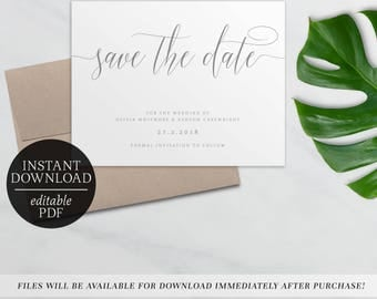 Printable Save The Date Calligraphy Invitation | Grey | Editable Template | Wedding | Save the Date Template | Modern | Gray | Olivia