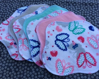 "Ready to Ship 7-Pack, Reusable Cloth Pantyliner, Panty Liner, 100% Flannel, 7"", Butterflies and Matching Solid Colors, Can Make Custom Sizes"