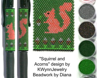 Squirrel and Acorns by KWynnJewelry beaded PEN kit (pattern sold separately)