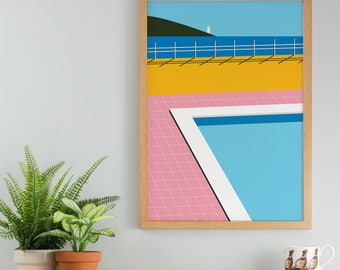 Beachside Pool Art Print - A4, A4 Wall Art - Hockney Print - Home Decor Wall Poster - Modern Art - Colourful Bold Graphic Decor