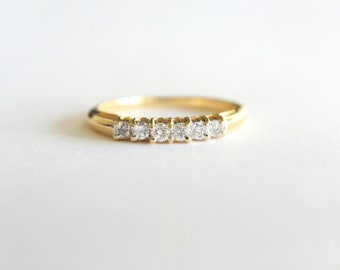 Diamond Wedding Ring, .20ct Round Diamond Wedding Band, 14K Yellow Gold Vintage Diamond Band