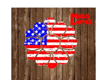 Flower Flag distressed  SVG DFX Cut file flower 4th of July t shirtscrapbook vinyl decal wood sign cricut cameo Commercial use