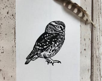 Little Owl linocut print | Handprinted, limited edition | Owl linoprint