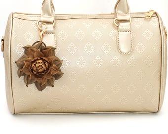 Genuine Leather Flower Bag Charm, Copper Gold Rose Bag Clip, Real Leather Purse Charm, Flower Bag Clip, Key chain Rose Clasp, Handbag Charm