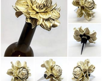 Wine lover gift idea! Custom Wine Bottle Stopper,Metallic Silver Leather Rose Wine Decor Bottle Stopper Wedding Favor Metal Wine Cork Topper