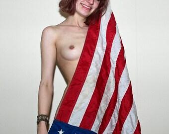 Mature Nude Naked U.S. USA American Flag Artful Art Photo