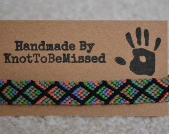 Handmade Woven Macrame Diamond Friendship Bracelet Black