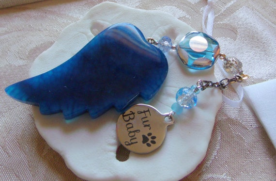 Pet loss gift - aqua angel wing - agate pendant - Sympathy gift - memento - fur baby - turquoise beads - round charm - gift box set
