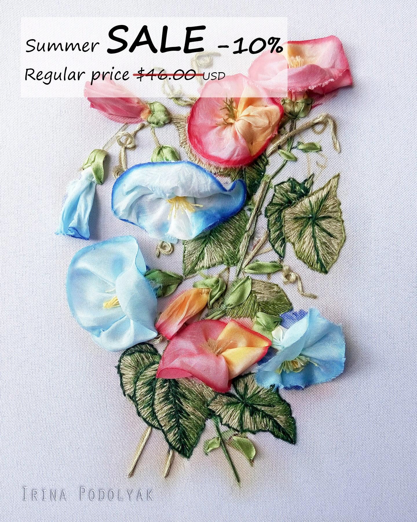 Sale silk ribbon embroidery kit bindweed
