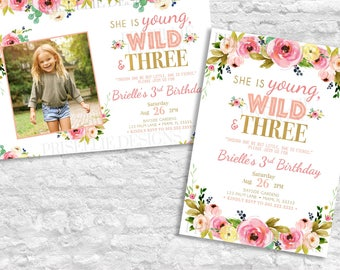 Young Wild and Three Birthday Invitation, Third Birthday Invitation, 3rd Birthday Invitation Girl, Pink and Gold Boho Floral Birthday Girl