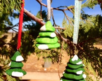 Snowy Pine Tree Ornaments