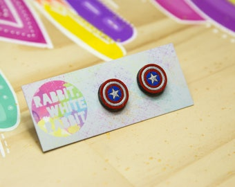 Hand Painted Captain America Stud Earring