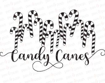 Candy Cane SVG - Christmas SVG - Candy Cane Word - Candy Cane Clipart - Candy Canes SVG Files - Candy Cane Svg File for Silhouette