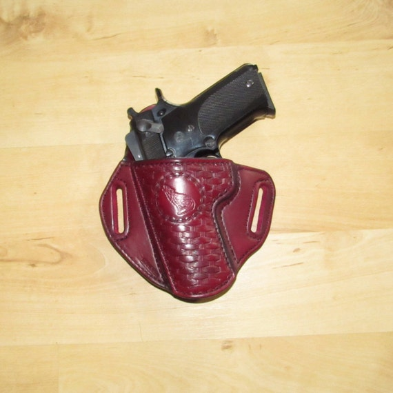 Leather Holster, Embossed Holster, handtooled holster, basket weave, Wolf stamped on leather basket weave holster