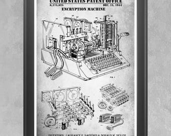 Encryption Machine Patent Print WWII Cypher Poster NSA Wall Art Cryptography Code
