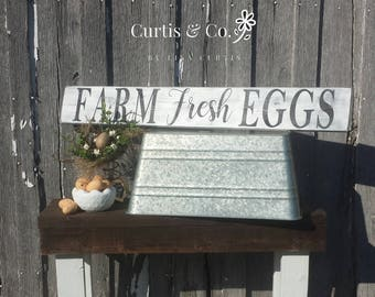 Farm fresh eggs sign-wood sign-kitchen sign-farmhouse decor-rustic sign-kitchen decor-distressed sign-farmhouse decor-chicken-home & living