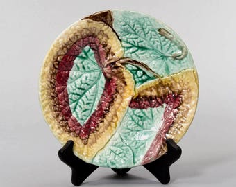19th Century English Begonia Leaf Majolica Plate [CO/SK14]