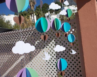 3D Cloud  Hot Air Balloons Garland.Birthday.Party.Baby Shower.Child's room. 5