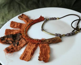 WastelandS tribal nomad leather necklace. Apocalyptic necklace. Crimson red silk necklace. Burning Man necklace.