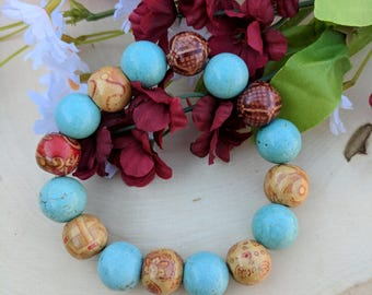 Boho Bracelet, Wood Bracelet, Gemstone Bracelet, Magnesite Bracelet, Mixed Media Bracelet, Boho Jewelry, Gemstone Jewelry, Gift For Her