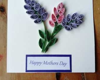 Quilling Mothers day Card, Greeting Card, Quilling Lavender