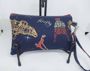 Firefly Wristlet Wallet-Serenity Clutch-Hero of Canton-Browncoats-Malcolm-Jayne-Zippered Pouch-OOAK-Ready to Ship