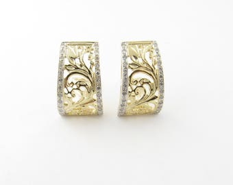 Vintage 14 Karat Yellow Gold and Diamond Earrings #2927