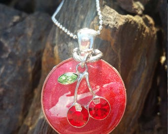 Fresh Picked Cherries /one of a kind / gift idea