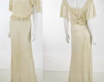 30s 1930s Cream Crochet Dress Wedding Gown