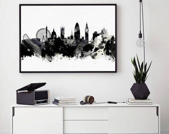 London Print, Skyline Prints, Black and White London Skyline, Watercolour Poster, Art Wall Decor, Home Decor Giclee (N107)