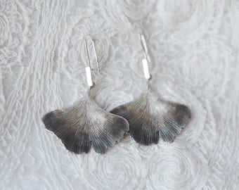 DISCOUNTED Ginkgo biloba sterling silver earrings, huge, ombre leaf darkened