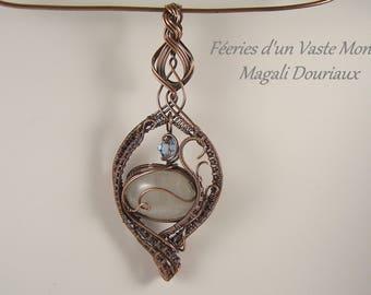 Antique copper wirewraps Moonstone pendant