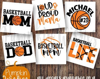 Basketball decal/Basketball Mom/Basketball Dad/Ball Name Decal/Loud and Proud Decal/Sports Decal/School Mascot Decal/Yeti cup decal