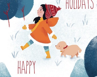 PRINTABLE Greeting Card - Happy Holidays forest - downloadable - gift