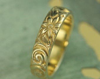 Yellow Gold Plated Ring~Crazy Daisy Ring~Sterling Silver Ring~Plated Wedding Band~Gold Flower Ring~Vintage Look Ring~Antique Style Band